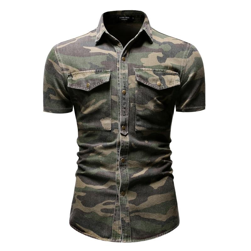 NEGIZBER 2019 New Men's Shirt Casual Camouflage Denim Shirt Large Pocket Loose Short-sleeved Shirt Men