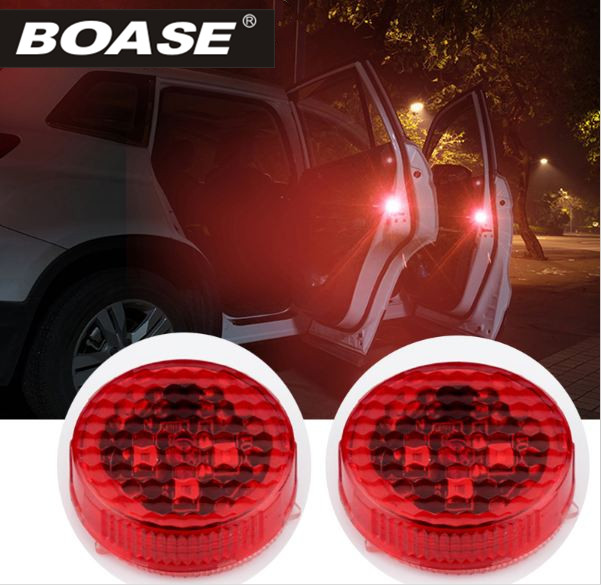 2PCS Car Door Opening Flashing Led Warning Lights Strobe Light Red Battery Power For Universal Car Volkswagen Ford Toyota