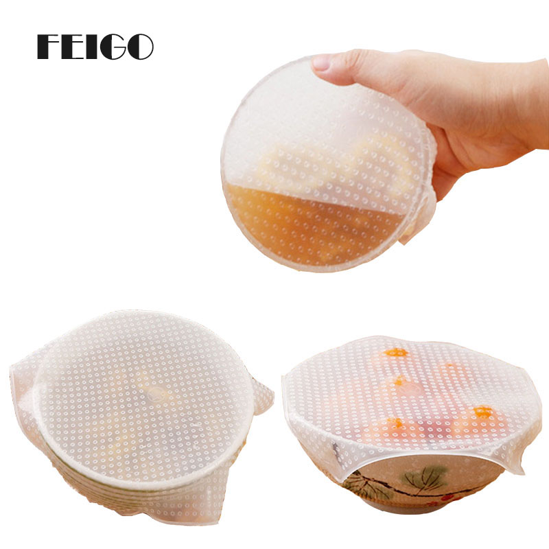FEIGO 1PC-3PC Transparent Organic Silicone Vacuum Stretch Cover Food Freezer Microwave Multi Reusable Kitchen Package F273