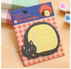 Gato dos desenhos animados almofada de memorando notas pegajosas bloco de notas marcador de papel adesivo notas papelaria material escolar