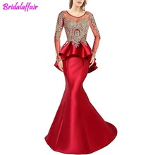 Womens Party Dress Mermaid Long Sleeve Evening Dresses Red Prom robe de soiree Big Size Gown abendkleider 2019
