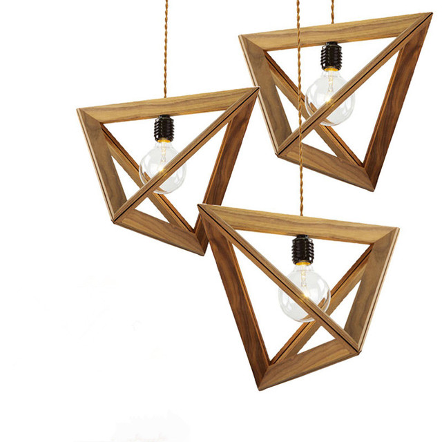 Triangle Wooden Frame pendant light American Village Geometric Solid ...