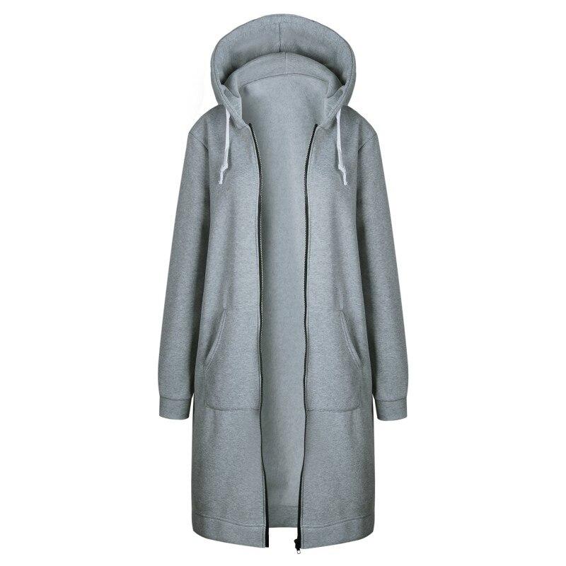 2017 Frauen Herbst Winter Mit Kapuze Mantel Lange Strickjacke Einfarbig Herbst Warme Starke Poncho Weiblichen Reißverschluss Mode Mäntel Plus Größe