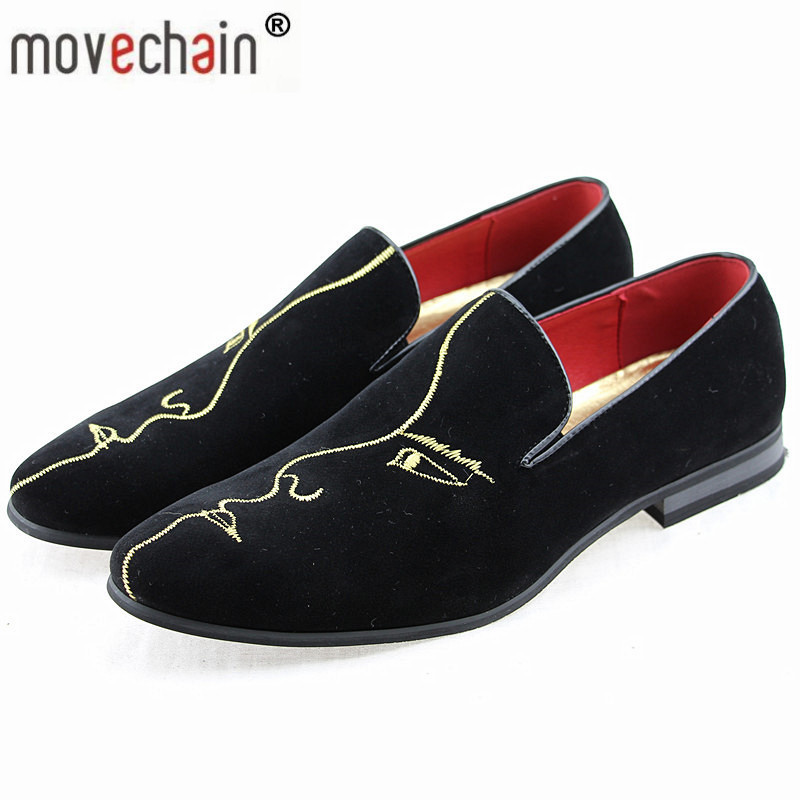 movechain Brand Men's Fashion Suede Leather Loafers Mens Casual Rhinestone Embroidery Moccasins Oxfords Shoes Man Driving Flats