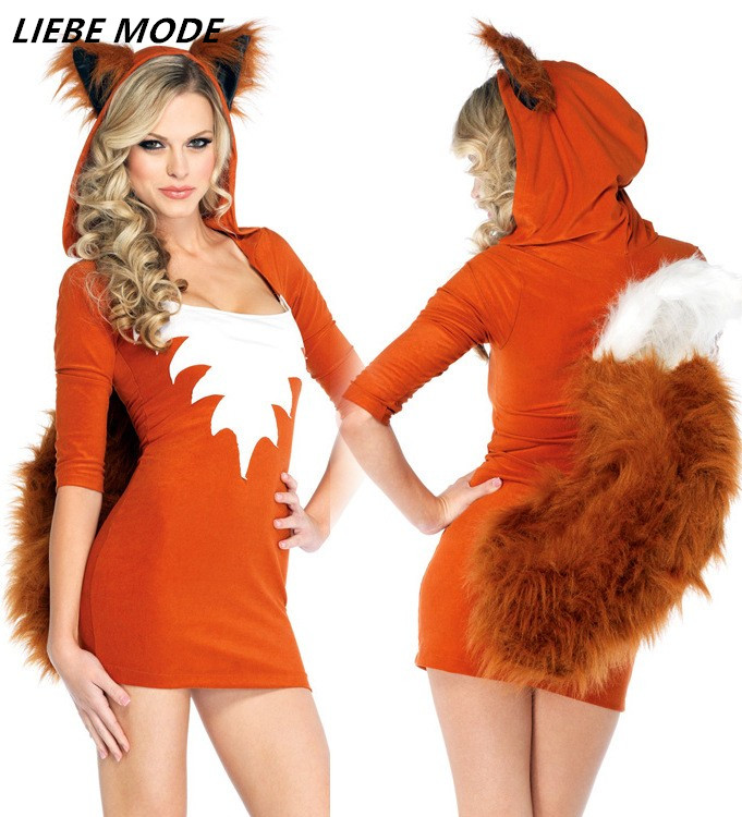 Anime <font><b>Cosplay</b></font> Dress Women Adult Animal Costume Womens Fox Costume With Tail <font><b>Halloween</b></font> Dresses <font><b>Sexy</b></font> Stage Costumes image