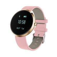 Модные женские смарт-браслет V06 с Bluetooth фитнес трекер сна сердечного ритма артериального давления водонепроницаемый для леди