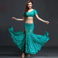 2007 new female belly dance costumes black / red / blue / green / white lace 2 pieces. (tops and skirts) Saia Vestido Indiano fa