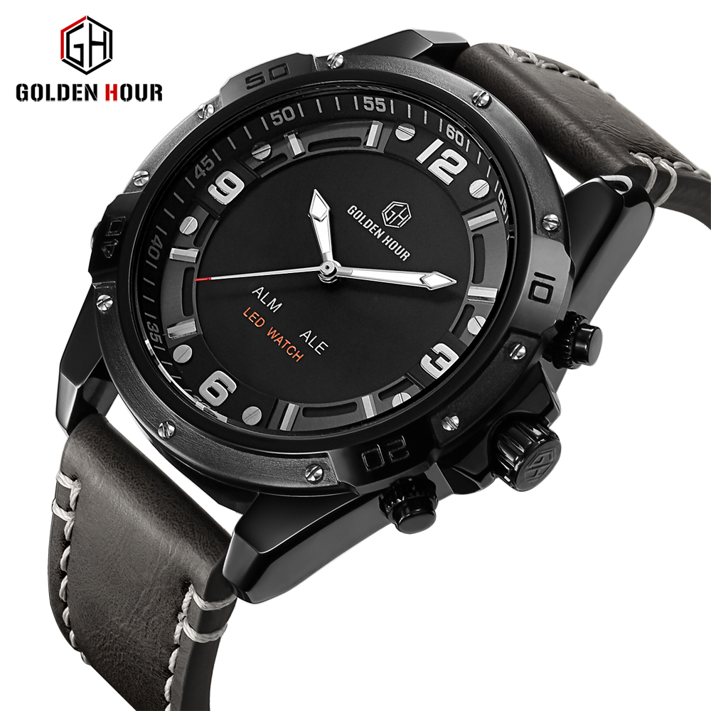 GOLDENHOUR Top Brand Luxury Mens Watches Fashion Sport Waterproof Quartz Wristwatch Date Clock Army Military Relogio