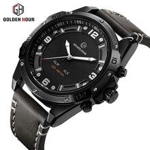 GOLDENHOUR Top Marca de Lujo Para Hombre Relojes Del Deporte de La Moda A Prueba de agua Reloj de pulsera de Cuarzo Fecha Ejército Reloj Militar Relogio masculino