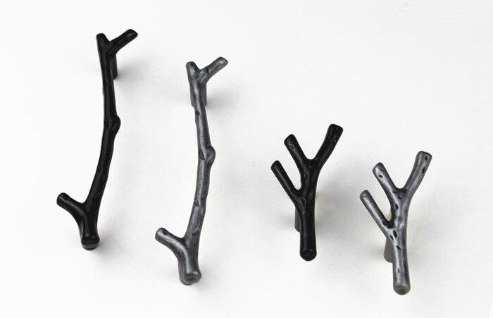 Antique Noir Argent Branche DArbre Commode Bouton Poignes De