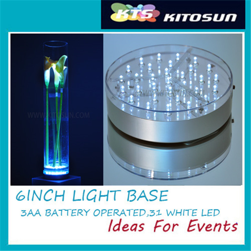 KITOSUN 6 Inch Acrylic Round LED Plate Light, LED Base Liight With 31 Super Bright White Leds For Vases Table Decoration