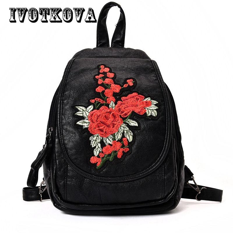 IVOTKOVA Flower Embroidery Women Backpacks Pu Leather Fashion Schoolbags Teenagers Girls School Bag Mochila Feminina Rucksack