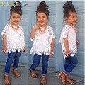 3 Piece/2-7Years/Primavera Verão Bebê Se Adapte Às Meninas Boutique Roupa Dos Miúdos Lace Branco T-shirt + Colete + calça jeans Conjuntos de Roupas Crianças BC1320