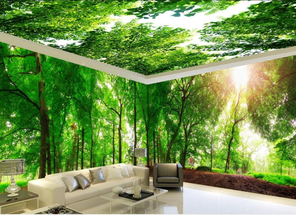 US $12.0 60% OFF|3D Stereoskopischen Benutzerdefinierte 3D Fototapete Wald  deer Ganze haus Hintergrund 3d Decke Wohnzimmer Schlafzimmer-in Tapeten aus  ...