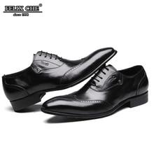 FELIX CHU  Men Genuine Leather Dress Shoes High Quality Italian Design Black Solid Color Hand-polished Pointed Toe Wedding