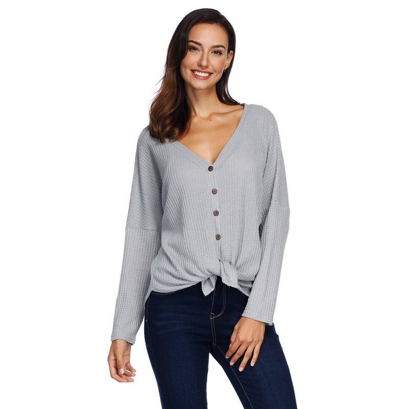 Women Long Sleeve Shirt Casual Button Down Front Knot Knit Sweaters Shirts V Neck Tunic Tops Office Lady 2018 Shirts