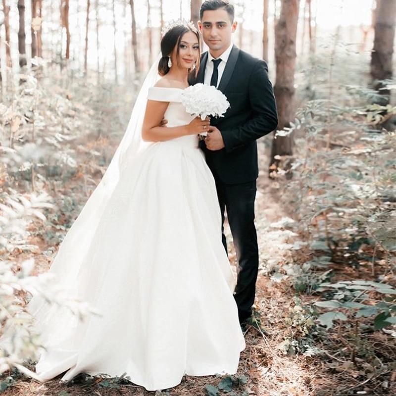LORIE Off The Shoulder A-line Simple Wedding Dresses Satin Bridal Gowns 2019 Vestido De Noiva White Ivory Wedding Gowns