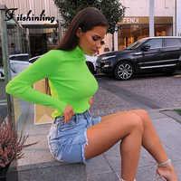 Fitshinling Modo caldo di 2019 di fluorescenza t-shirt da donna top neon manica lunga sottile dolcevita femminile t-shirt t shirt solid