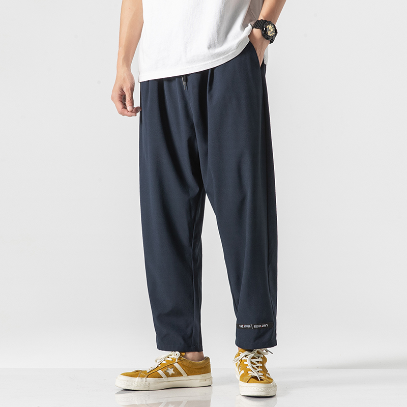 Men's Summer Pants Loose Straight Thin Trousers Pants Men Ankle Length Breathable Stretch Japanese Style Solid Casual Pants Man