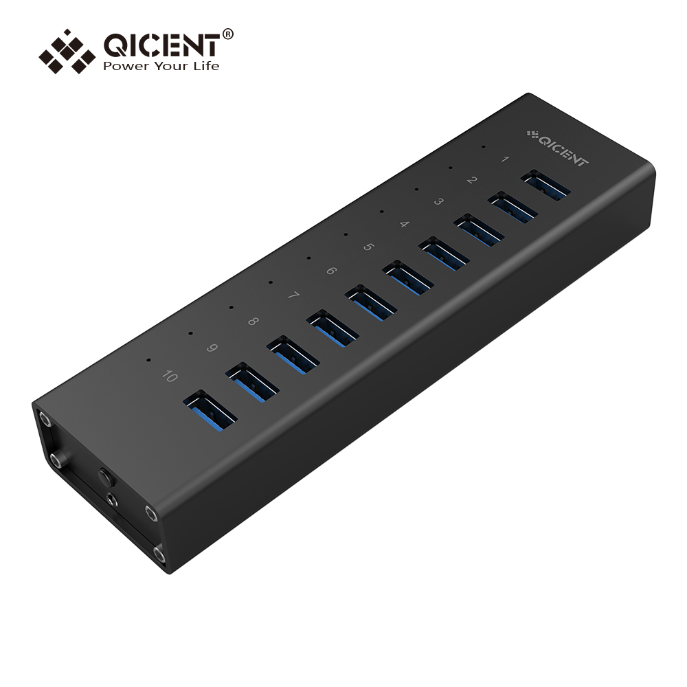 QICENT 10 Port Aluminium USB 3.0 HUB With 12V3A Power Adapter BC1.2 5V2.4A Fast Charging Port  for MacBook Laptop PC Compute 60w magsafe 2 car charger with usb port for apple macbook