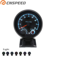 CNSPEED Takometre ile Evrensel 3.75 inç takometre 7 renk led 0-8000 RPM Siyah kasa ve Jant Oto ölçer takometre Araba ölçer