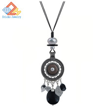 Vintage Round Hollow Out Necklace for Women Long Leather Rope Tassel Necklace Jewelry vintage solid color hollow out necklace for women