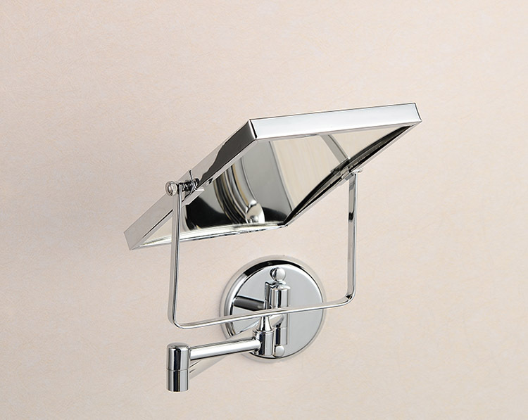 Aliexpress Buy Bath Mirrors 8 Double Side Brass Shave Makeup Mirror Chrome Hotel Wall Mounted Extend With Arm Round Base 3x Magnifying 1758 From