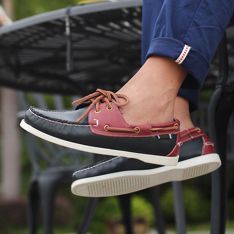 Brand Genuine Leather Driving Boat Shoes Men Lace Up Flats Moccasin Gommino Male 2019 New Breathable Casual Footwear-in Men's Casual Shoes from Shoes    1
