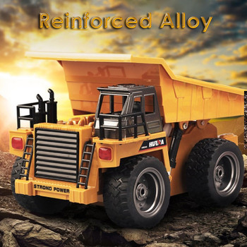 1540 1:18 2.4G 6CH RC AlloyDump Truck Reinforced Alloy Rotate RC Excavator Engineering Car Remote Control Cars Boys Gifts HUINA