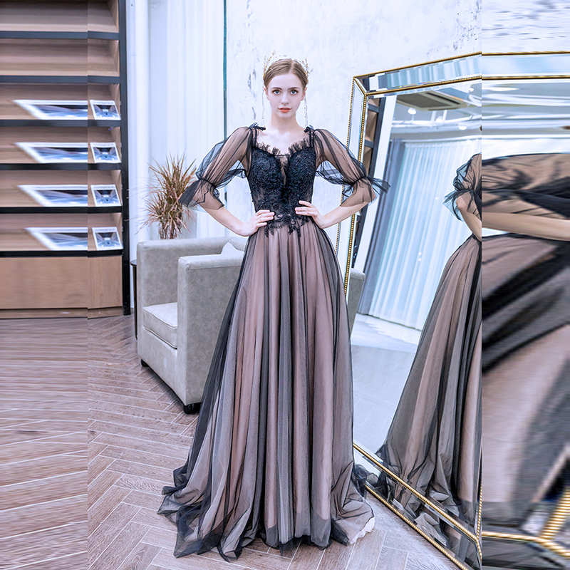 Sexy Long   Prom     Dress   Appliques Lace Up Evening Party Gown Cheap Price Women Tulle Black   Prom     Dresses   2019