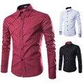 2017 Новый Стиль Груди Решетки Выравнивание Дизайн Британский Стиль Моды Случайные мужские Рубашки Бизнес Сплошной Цвет С Длинным Рукавом Мужской