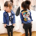 Retail 2014 new autumn childrens Denim jacket coat,boys and girls Mickey Printed denim jacket,kids casual outwear Jacket