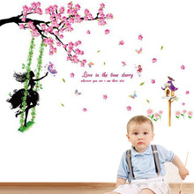 Plum Tree Swing Girl Wall Stickers PVC Material Pink plum flower DIY Decal For Living Room Kids Home Decor Murals