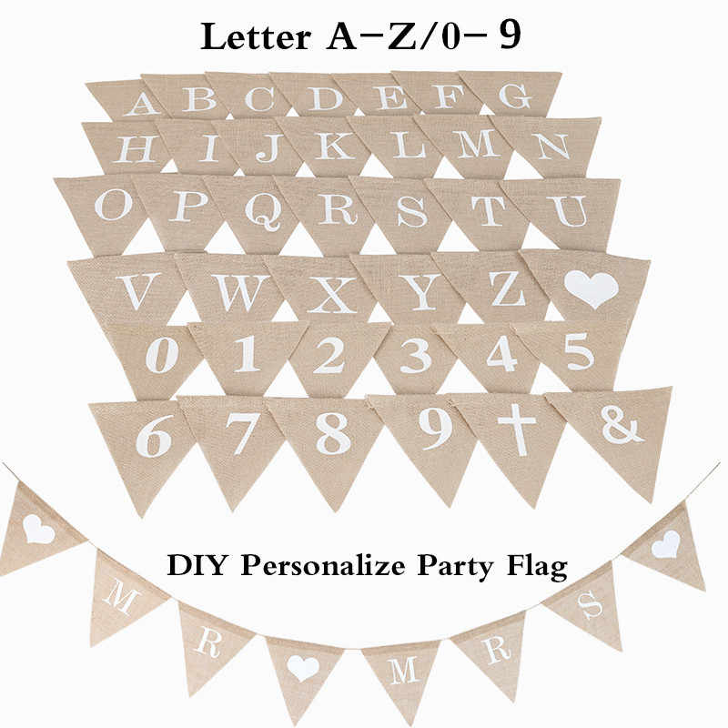 DIY Making Custom No. 0-9 Jute Burlap Bunting Banners Baby Shower Birthday Party Wedding Decoration Party Flags Party Decoration
