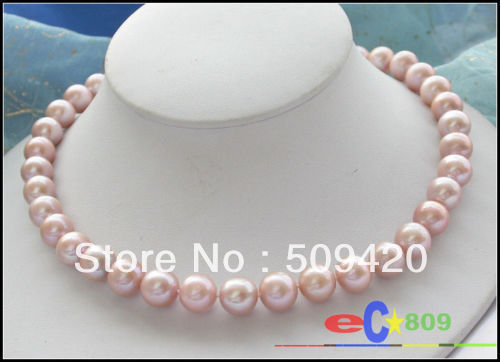 "Free ShippingAAA++ 17"" 12MM ROUND Lavender AKOYA PEARL NECKLACE 14KT"