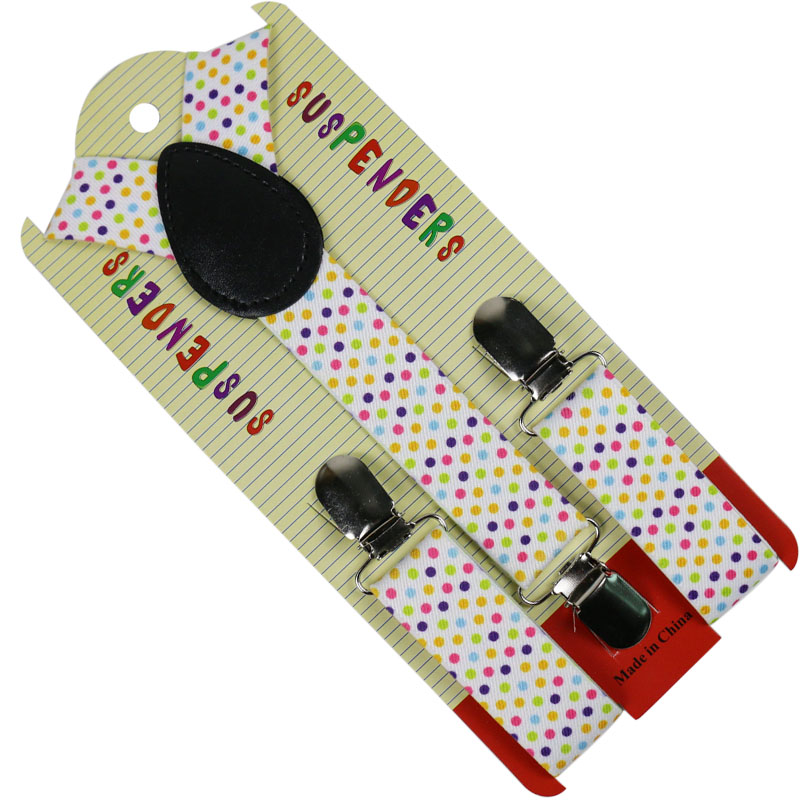 Winfox Fashion Colorful Polka Dots Children Suits Suspenders Shirts Kids Suspenders Baby Boys Belt Strap Braces
