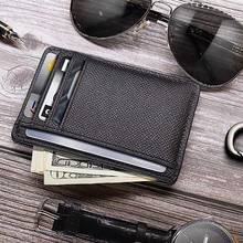 Hot Selling Men Card Holder PU Leather 6 Cards Slot Ultra-thin Lichee Pattern