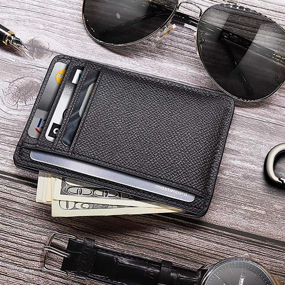 Men Cards Holders PU Leather 6 Cards Slot Ultra-thin Lichee Pattern Wallet Fashion Durable Wallets Card Holder Cover