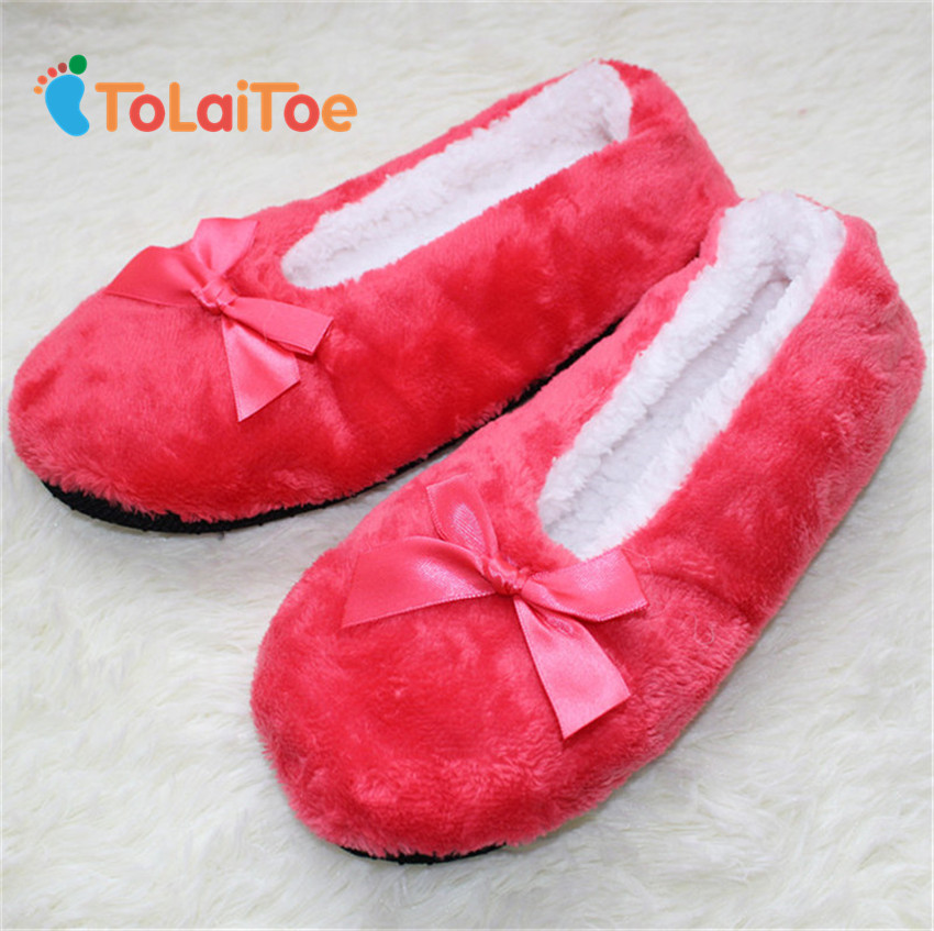 ToLaiToe Free Shipping Women's Super-soft Non-slip Home Indoor Plush Slippers Bow Decoration Floor Household Slippers 6 Colors tolaitoe home soft plush leopard slippers coral fleece indoor home shoes floor sock indoor winter foot warmer household slippers