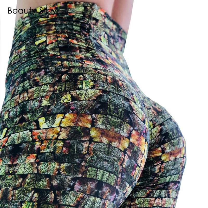 Beauty Stay Women   Leggings   Leaf Rock and Colorful Butterfly Digital Printing Plus Size High Waist Fitness Push Up Trousers