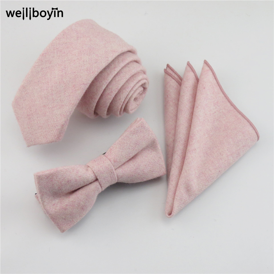 100% Wool Pink Tie Set Men's Ties Bowtie Pocket Square Handkerchief Suit Set For Men Wedding Party Dress Accessories Gravata