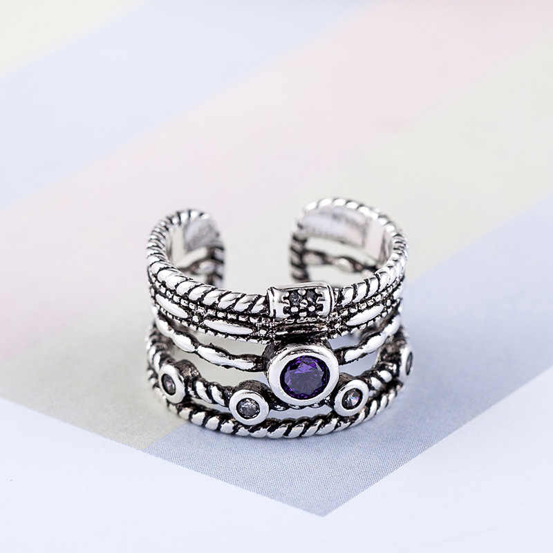 Bohemian Vintage 925 Sterling Silver Multilayer Large Rings For Women Gifts Girls Open Retro Antique Rings Wedding Jewelry