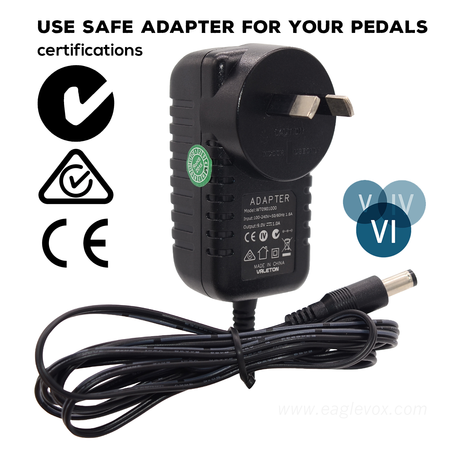 guitar effects 9 volt ac power adapter australia au plugfor pedals all safety certification in. Black Bedroom Furniture Sets. Home Design Ideas