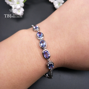 Image 4 - TBJ,Real natural 4ct up Blue tanzanite gemstone bracelet 925 sterling silver fine jewelry for women best gift