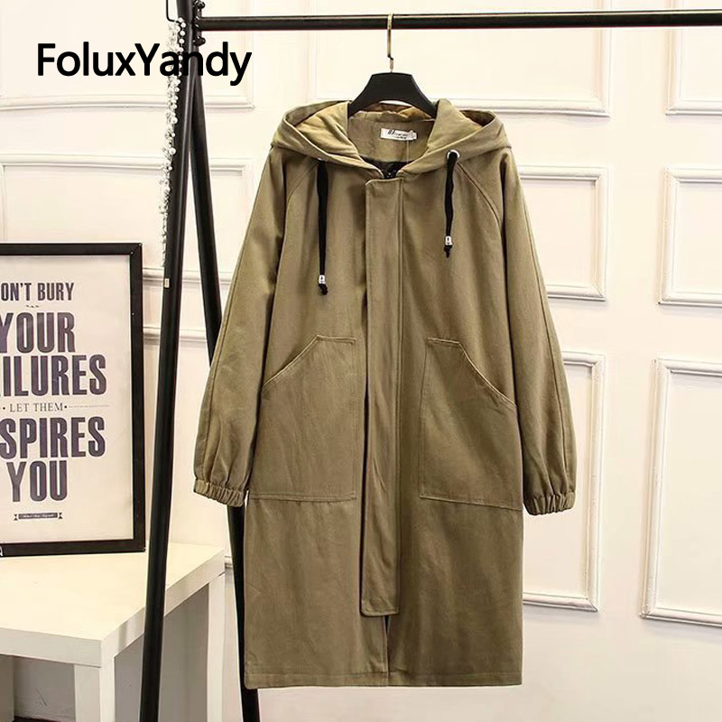 Hooded Casual Long   Trench   Women Coats for Spring Autumn Loose Plus Size   Trench   Outerwear KKFY2988