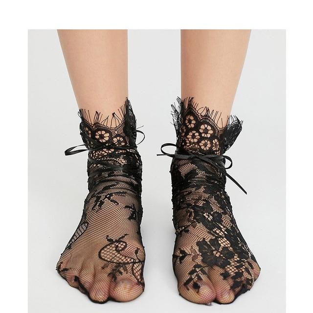 b602e4179 1Pair Summer Sock Short Embroidery Mesh Fishnet Socks for Ladies Floral Lace  Ribbon Socks For Women