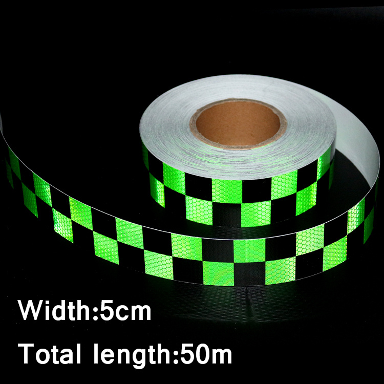 50mx5cm Motorcycle decoration Reflective Strips Car Stickers for Car-Styling Truck Safety Warning Adhesive Tape Black&Green 16 strips motorcycle accessories 7 colors car styling decals 17 or 18 inch car stickers wheel rim sticker reflective tape