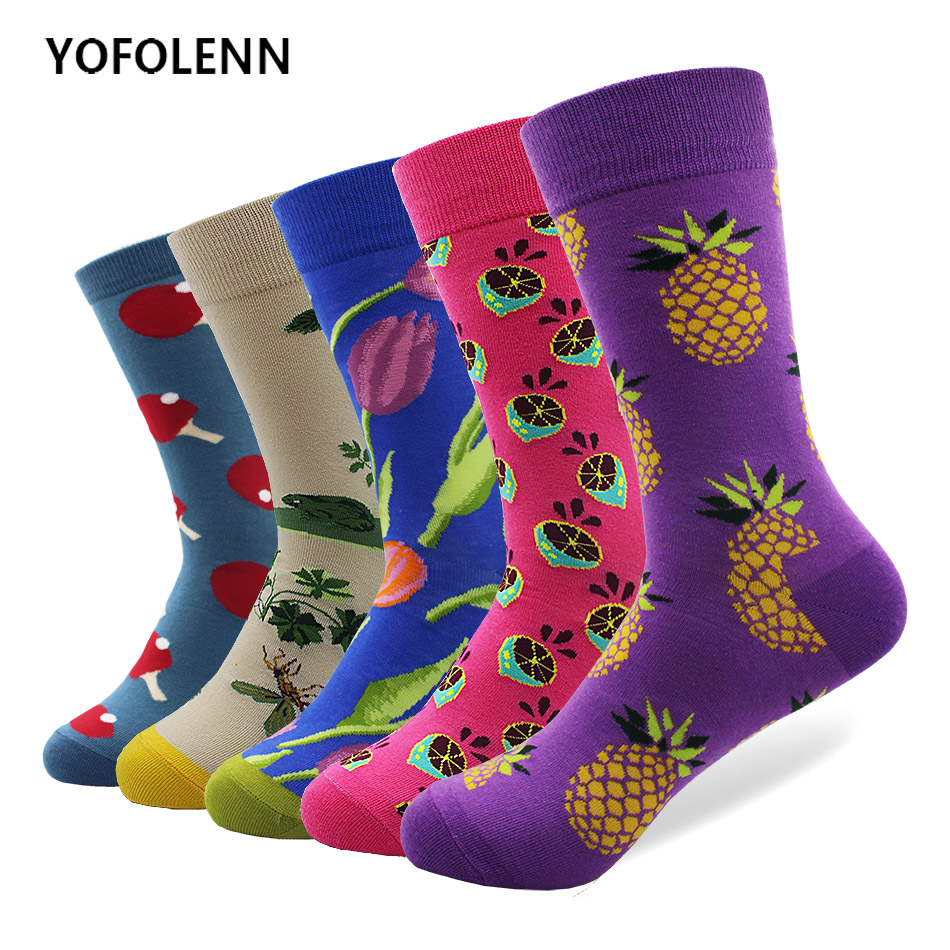 5 pair/lot Novelty Mens Combed Cotton Socks Fruit & Flower Patterns Long Crew Happy Colorful Socks for Wedding Gift Breathable
