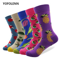 5 pair lot Novelty Men s Combed Cotton Socks Fruit Flower Patterns Long Crew Happy Colorful