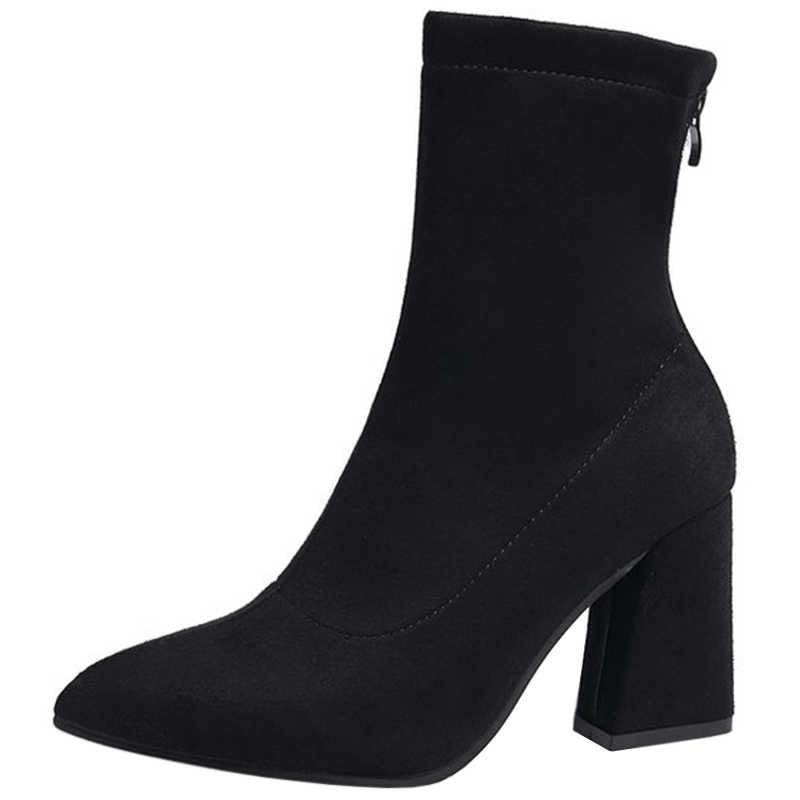 2019 Sahte Süet Kadın Çorap Çizmeler Kalın Yüksek Topuklu yarım çizmeler Kadınlar için Moda Ince Streç Ayakkabı Kadın